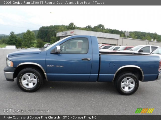 atlantic blue pearl 2003 dodge ram 1500 st regular cab taupe interior. Black Bedroom Furniture Sets. Home Design Ideas