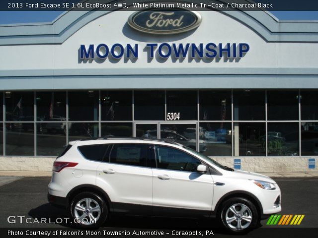 white platinum metallic tri coat 2013 ford escape se 1 6l ecoboost 4wd charcoal black. Black Bedroom Furniture Sets. Home Design Ideas