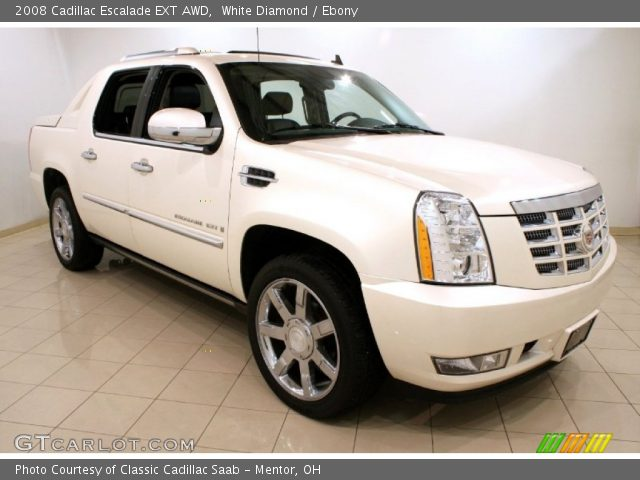 white diamond 2008 cadillac escalade ext awd ebony interior vehicle archive. Black Bedroom Furniture Sets. Home Design Ideas