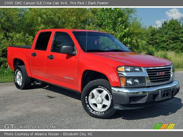 fire red 2005 gmc canyon sle crew cab 4x4 dark pewter interior vehicle. Black Bedroom Furniture Sets. Home Design Ideas