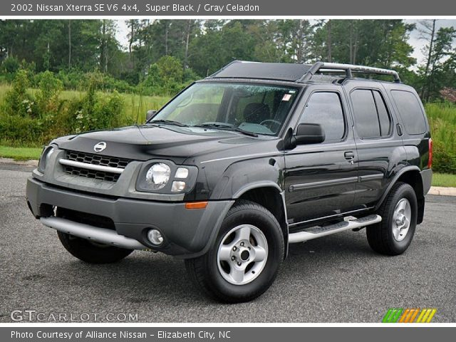 super black 2002 nissan xterra se v6 4x4 gray celadon. Black Bedroom Furniture Sets. Home Design Ideas