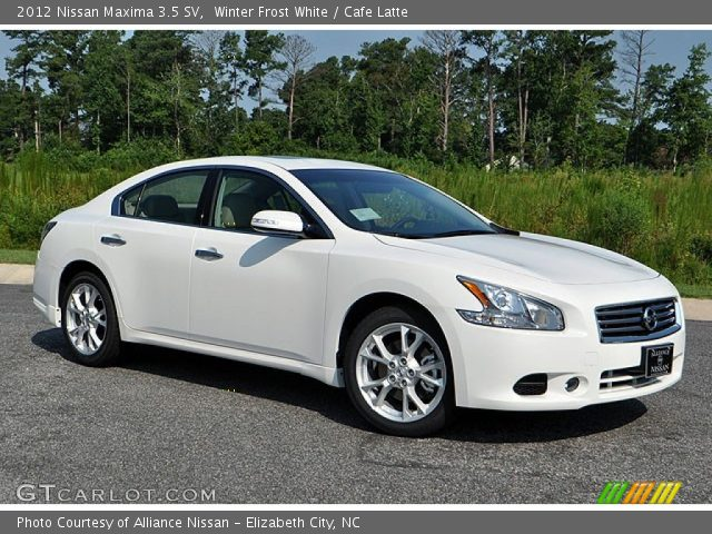 winter frost white 2012 nissan maxima 3 5 sv cafe latte interior vehicle. Black Bedroom Furniture Sets. Home Design Ideas