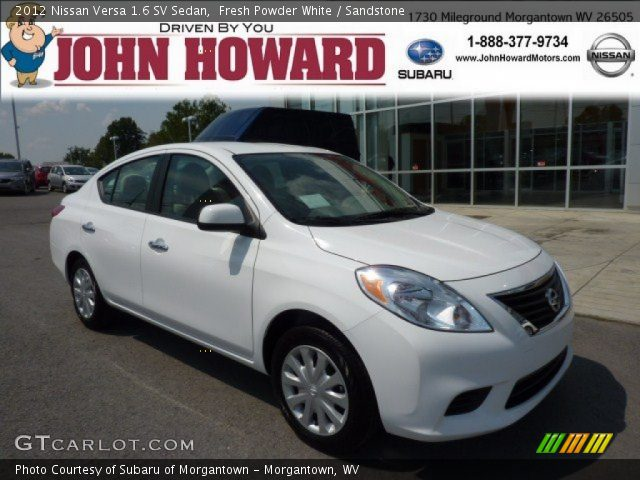 fresh powder white 2012 nissan versa 1 6 sv sedan sandstone interior. Black Bedroom Furniture Sets. Home Design Ideas