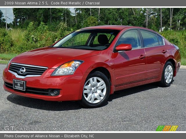code red metallic 2009 nissan altima 2 5 s charcoal interior vehicle. Black Bedroom Furniture Sets. Home Design Ideas