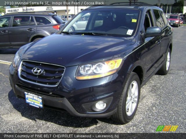 indigo blue pearl 2010 hyundai santa fe se cocoa black interior vehicle. Black Bedroom Furniture Sets. Home Design Ideas