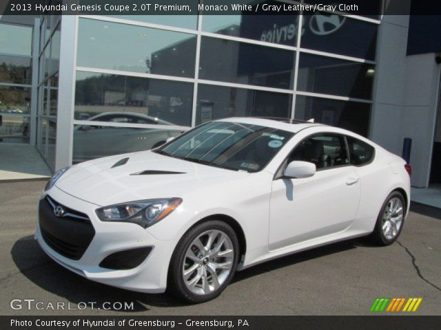 monaco white 2013 hyundai genesis coupe 2 0t premium gray leather gray cloth interior. Black Bedroom Furniture Sets. Home Design Ideas