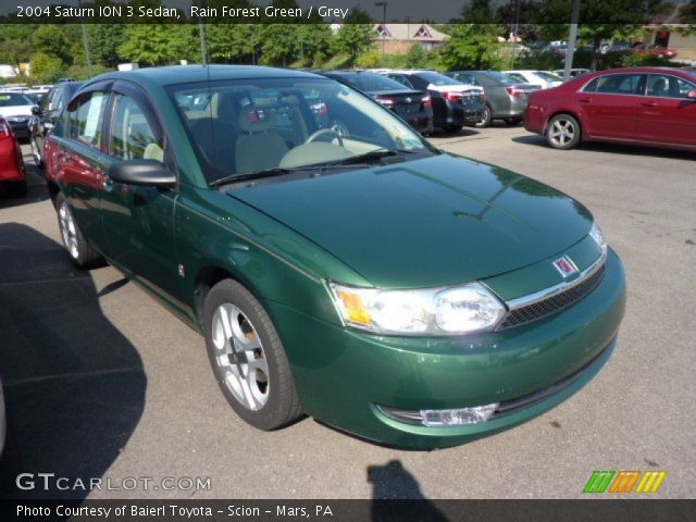 Rain Forest Green 2004 Saturn Ion 3 Sedan Grey Interior