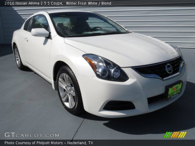 winter frost white 2010 nissan altima 2 5 s coupe blond interior vehicle. Black Bedroom Furniture Sets. Home Design Ideas