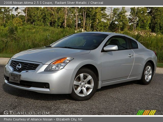 radiant silver metallic 2008 nissan altima 2 5 s coupe charcoal interior. Black Bedroom Furniture Sets. Home Design Ideas