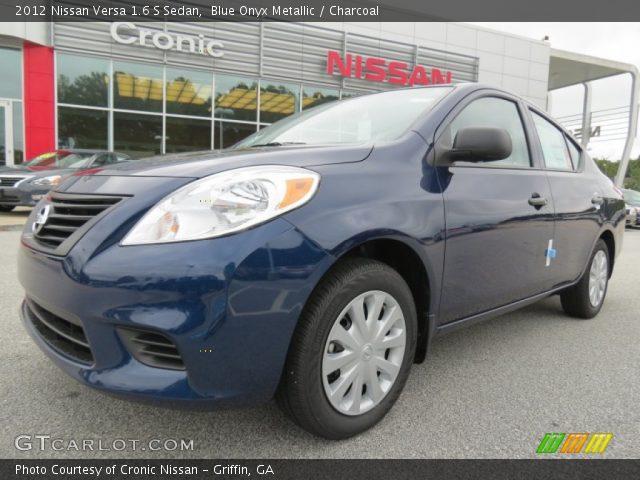 blue onyx metallic 2012 nissan versa 1 6 s sedan charcoal interior vehicle. Black Bedroom Furniture Sets. Home Design Ideas