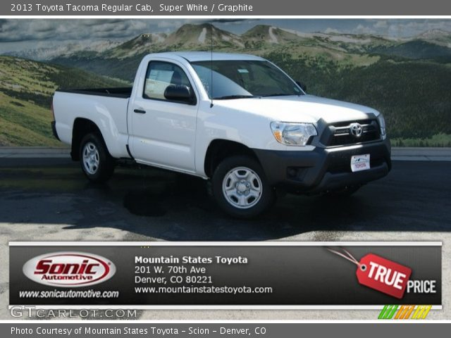 super white 2013 toyota tacoma regular cab graphite interior vehicle. Black Bedroom Furniture Sets. Home Design Ideas