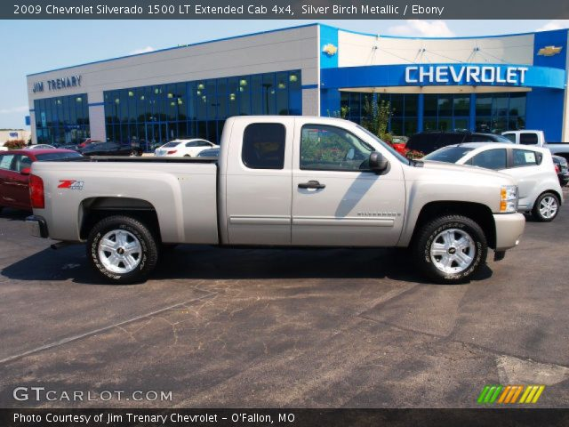 silver birch metallic 2009 chevrolet silverado 1500 lt extended cab 4x4 ebony interior. Black Bedroom Furniture Sets. Home Design Ideas