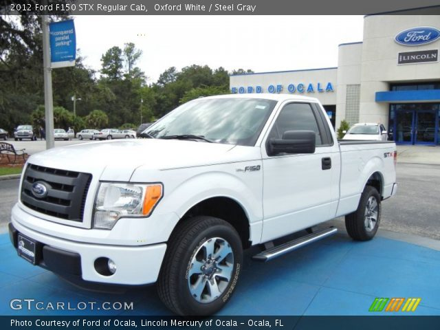 oxford white 2012 ford f150 stx regular cab steel gray interior vehicle. Black Bedroom Furniture Sets. Home Design Ideas