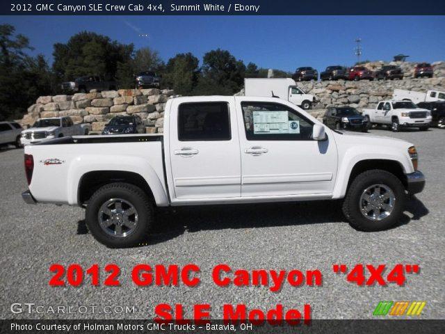 summit white 2012 gmc canyon sle crew cab 4x4 ebony interior vehicle. Black Bedroom Furniture Sets. Home Design Ideas