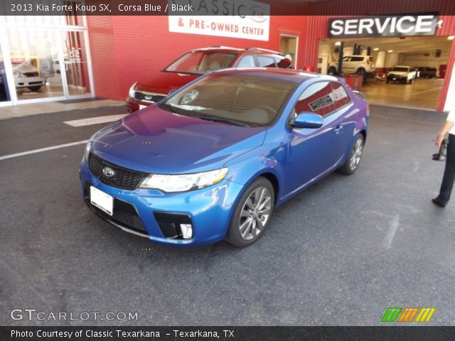 corsa blue 2013 kia forte koup sx black interior vehicle archive 70618137. Black Bedroom Furniture Sets. Home Design Ideas