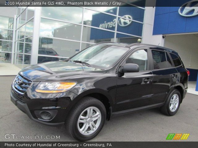 phantom black metallic 2010 hyundai santa fe gls 4wd gray interior vehicle. Black Bedroom Furniture Sets. Home Design Ideas
