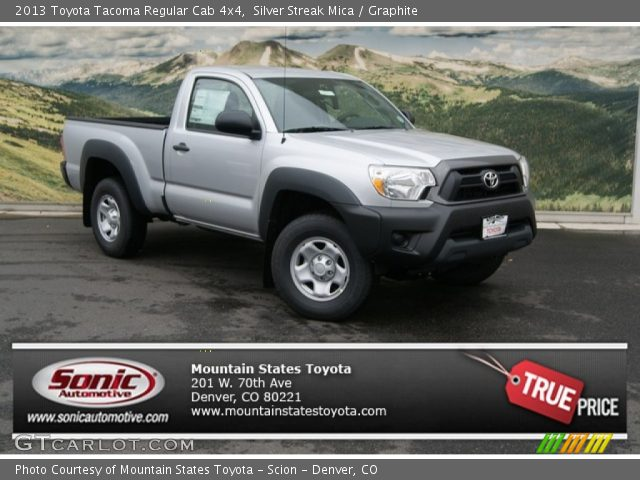 silver streak mica 2013 toyota tacoma regular cab 4x4 graphite interior. Black Bedroom Furniture Sets. Home Design Ideas