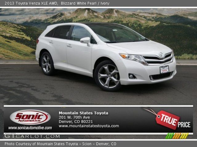 blizzard white pearl 2013 toyota venza xle awd ivory. Black Bedroom Furniture Sets. Home Design Ideas