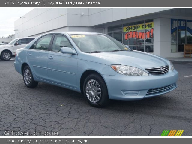 sky blue pearl 2006 toyota camry le dark charcoal interior vehicle archive. Black Bedroom Furniture Sets. Home Design Ideas