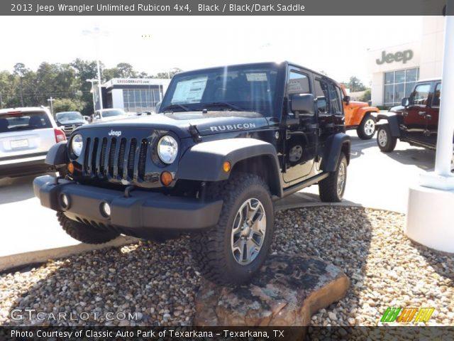 Black 2013 Jeep Wrangler Unlimited Rubicon 4x4 Black Dark Saddle Interior