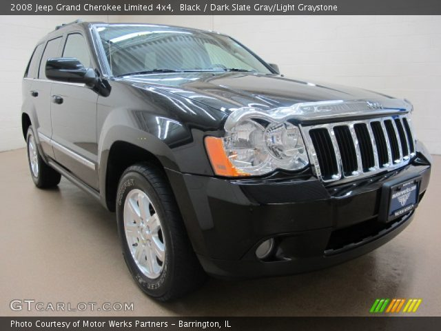 Black 2008 Jeep Grand Cherokee Limited 4x4 Dark Slate Gray Light Graystone Interior