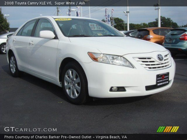 super white 2008 toyota camry xle v6 ash interior vehicle archive 71132678. Black Bedroom Furniture Sets. Home Design Ideas