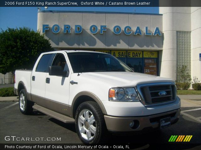 oxford white 2006 ford f150 king ranch supercrew castano brown leather interior gtcarlot. Black Bedroom Furniture Sets. Home Design Ideas