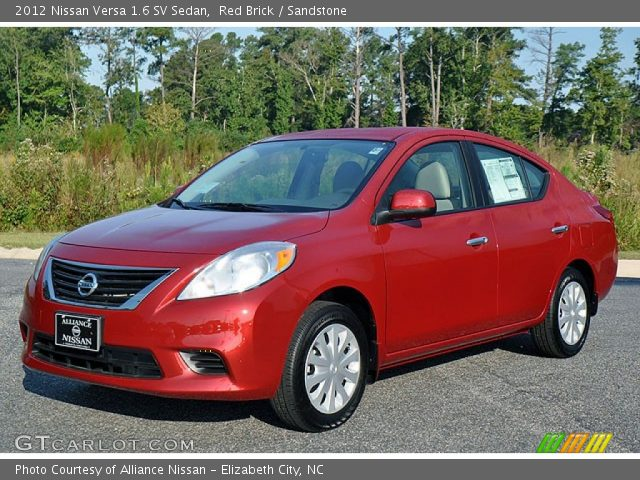 red brick 2012 nissan versa 1 6 sv sedan sandstone interior vehicle archive. Black Bedroom Furniture Sets. Home Design Ideas