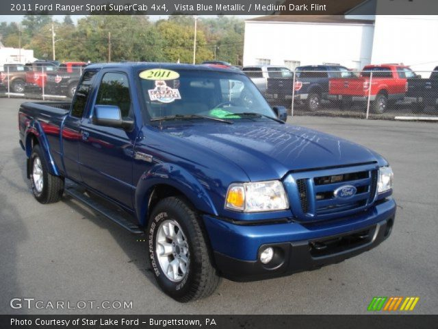 vista blue metallic 2011 ford ranger sport supercab 4x4 medium dark flint interior. Black Bedroom Furniture Sets. Home Design Ideas