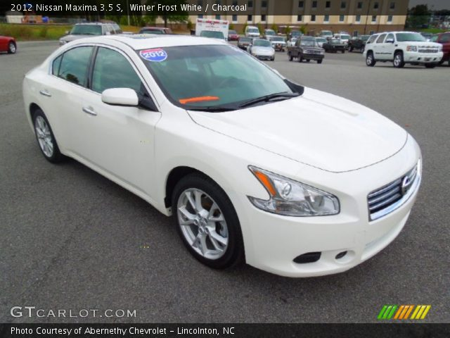 winter frost white 2012 nissan maxima 3 5 s charcoal interior vehicle. Black Bedroom Furniture Sets. Home Design Ideas