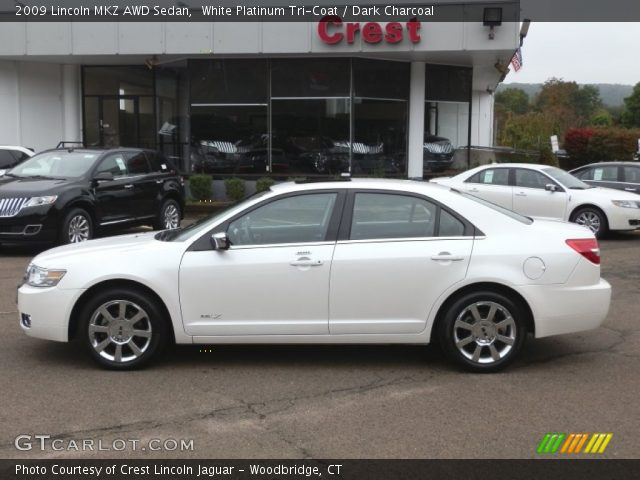 White Platinum Tri-Coat 2009 Lincoln MKZ AWD Sedan with Dark Charcoal ...
