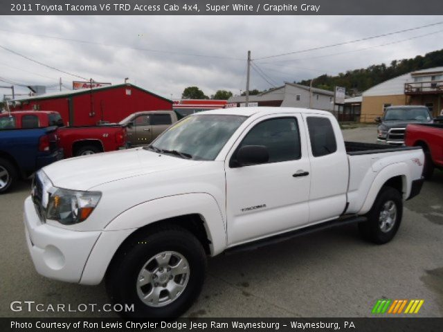 super white 2011 toyota tacoma v6 trd access cab 4x4 graphite gray interior. Black Bedroom Furniture Sets. Home Design Ideas