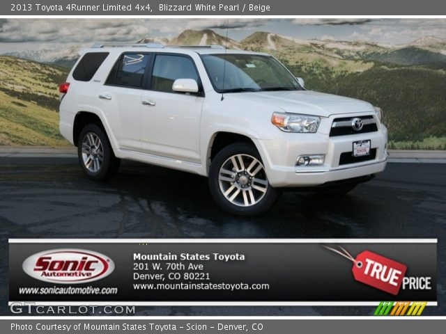 Blizzard White Pearl 2013 Toyota 4runner Limited 4x4 Beige Interior Vehicle