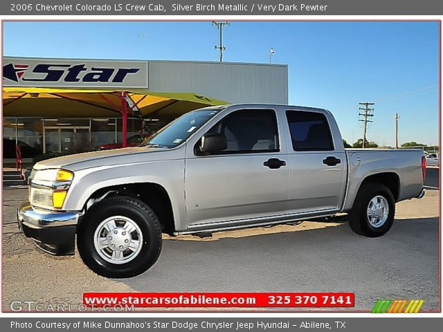 silver birch metallic 2006 chevrolet colorado ls crew cab very dark pewter interior. Black Bedroom Furniture Sets. Home Design Ideas