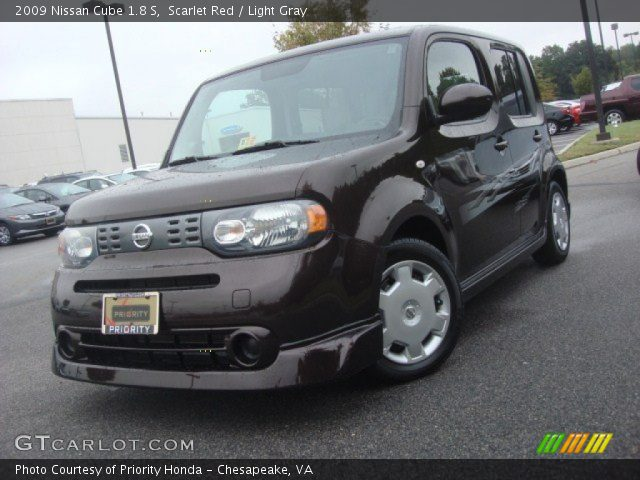 scarlet red 2009 nissan cube 1 8 s light gray interior vehicle archive. Black Bedroom Furniture Sets. Home Design Ideas