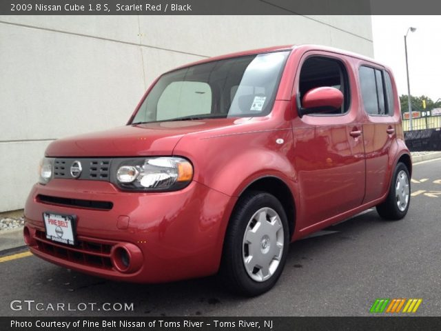 scarlet red 2009 nissan cube 1 8 s black interior vehicle archive 72040654. Black Bedroom Furniture Sets. Home Design Ideas