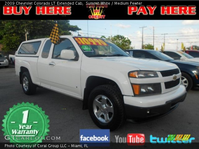summit white 2009 chevrolet colorado lt extended cab medium pewter interior. Black Bedroom Furniture Sets. Home Design Ideas