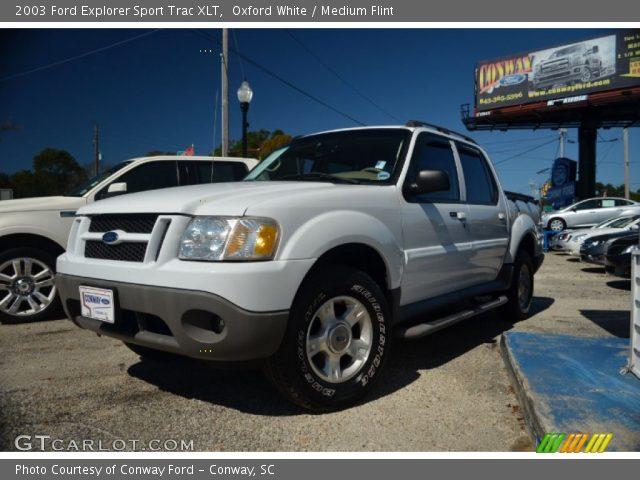 Oxford White 2003 Ford Explorer Sport Trac XLT Medium Flint Interior GT