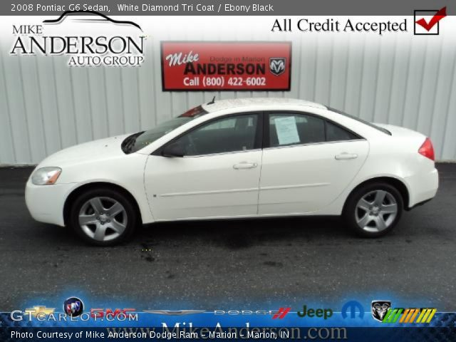 White Diamond Tri Coat - 2008 Pontiac G6 Sedan - Ebony Black Interior ...