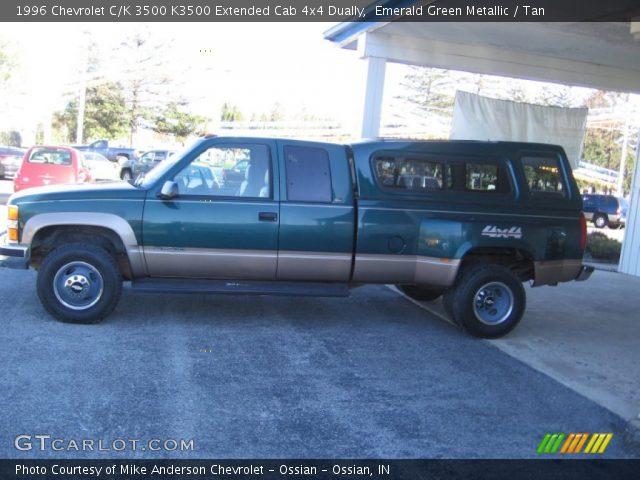 emerald green metallic 1996 chevrolet c k 3500 k3500 extended cab 4x4 dually tan interior. Black Bedroom Furniture Sets. Home Design Ideas