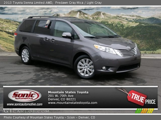 predawn gray mica 2013 toyota sienna limited awd light. Black Bedroom Furniture Sets. Home Design Ideas