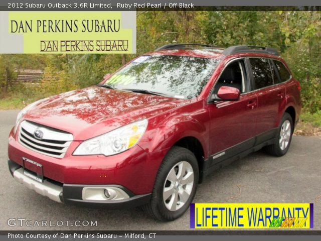 ruby red pearl 2012 subaru outback 3 6r limited off black interior vehicle. Black Bedroom Furniture Sets. Home Design Ideas