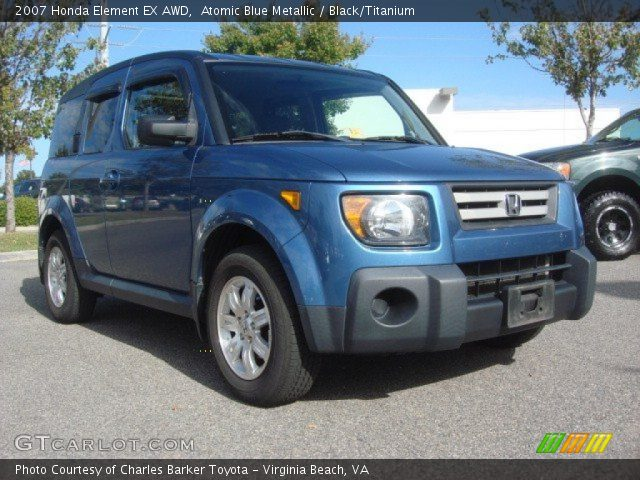 atomic blue metallic 2007 honda element ex awd black titanium interior. Black Bedroom Furniture Sets. Home Design Ideas