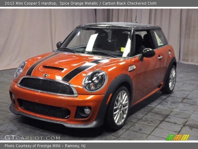 spice orange metallic 2013 mini cooper s hardtop carbon black checkered cloth interior. Black Bedroom Furniture Sets. Home Design Ideas