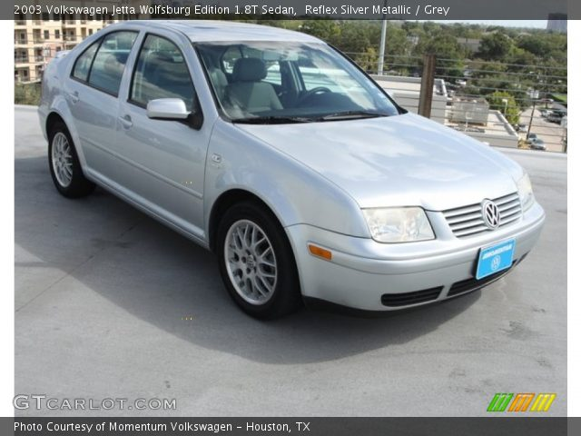 reflex silver metallic 2003 volkswagen jetta wolfsburg edition 1 8t sedan grey interior. Black Bedroom Furniture Sets. Home Design Ideas
