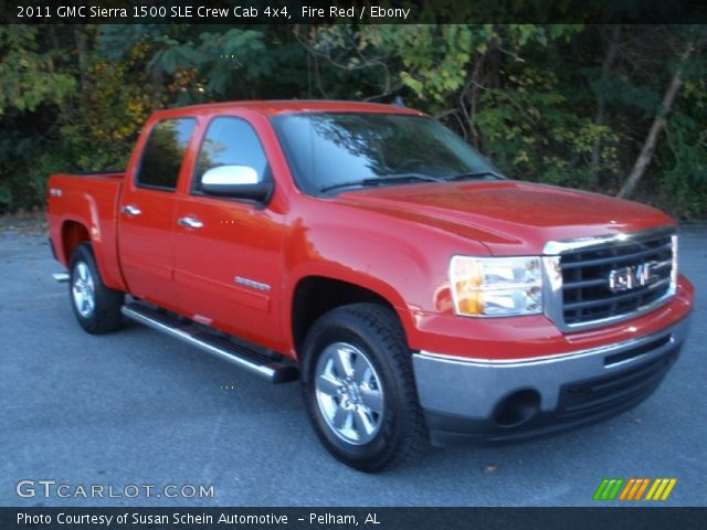 fire red 2011 gmc sierra 1500 sle crew cab 4x4 ebony interior vehicle. Black Bedroom Furniture Sets. Home Design Ideas