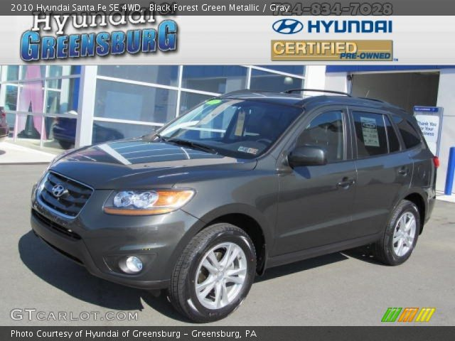 black forest green metallic 2010 hyundai santa fe se 4wd gray interior. Black Bedroom Furniture Sets. Home Design Ideas