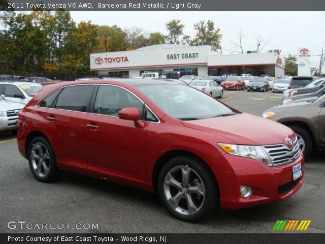barcelona red metallic 2011 toyota venza v6 awd light. Black Bedroom Furniture Sets. Home Design Ideas