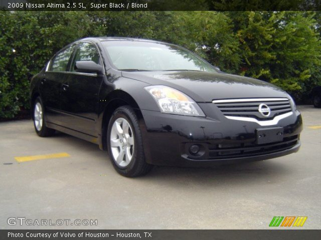super black 2009 nissan altima 2 5 sl blond interior vehicle archive 72826932. Black Bedroom Furniture Sets. Home Design Ideas