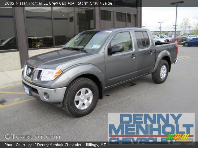 storm gray 2009 nissan frontier le crew cab 4x4 beige interior vehicle. Black Bedroom Furniture Sets. Home Design Ideas